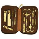 10pc Brown Leather Manicure Set For Men