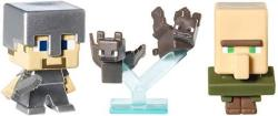 MINECRAFT Collectible Figures Bats Steve With Iron Armor And Villager 3-pack Series 2