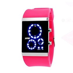 Mifine Blue LED Digital Sports Watches Fashion Silicone Band Wristwatches Rose Red