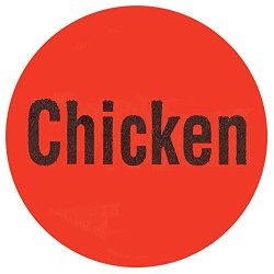 "Chicken"" Labels Red Deli Dot Packaging Labels Black Imprint - 1""DIA 1000 Per Roll"