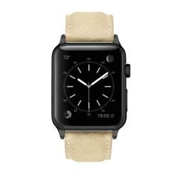 Colton James Leather Strap For Black space Grey 38MM Apple Watch-sandstone