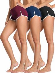 Cadmus Women's Workout Yoga Gym Shorts 1301 Black & Navy Blue & Red Medium