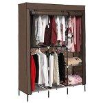 Leoneva 49-INCH Portable Clothes Closet Wardrobe Non-woven Fabric Double Rod Storage Organizer With Shelves