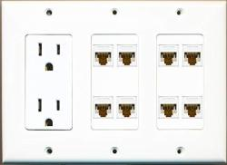 Riteav 15A 125V Power Outlets + 8 X CAT6 Ethernet Triple 3 Gang Wall Plate