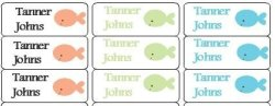 Just Stik It 30 Personalized Waterproof Name Labels Fish Labels Name Labels Personalized Name Labels Personalized Tags Favor Tags Daycare Labels