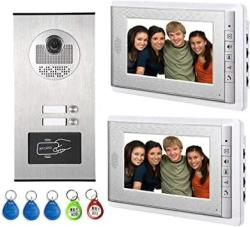 """AMOCAM Video Intercom Entry System Wired 7"""" Lcd Monitor Video Door Phone Doorbell With 5PCS Id Card For 2 Units Apartment Support Monitoring Unlock"""