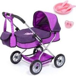 Bayer Smarty Doll& 39 S Pram Set With Bag & Accessories Purple