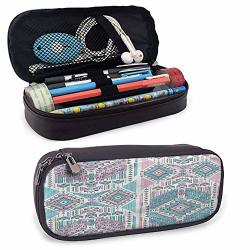 """Tribal High Capacity Pu Leather Pencil Case Pink Teal Aztec For Pens Pencil Samsung Stylus Tools USB Cable And Other Accessories 8""""X3.5'X1.5'"""