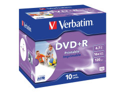 Verbatim DataLifePlus Pack of 10 4.7GB Printable DVD+R Discs in Jewel Cases