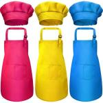 Chengu 8 Pieces Kids Apron And Chef Hat Set Boys Girls Adjustable Cotton Child Aprons With 2 Pockets Kitchen Bib Aprons For Kitc