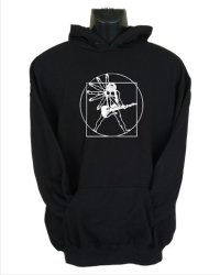 Medium Vitruvian Guitar Man Hoodie in Black