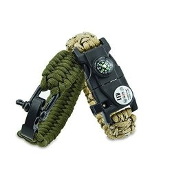 AIFUSI Survival Paracord Bracelet Gear Kit With Sos LED Light Embedded Compass Fire Starter Rescue Whistle With Hand Ring For Outdoor