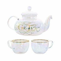 Luxury Gin And Tonic Gift Set Rainbow Tinted Borosilicate Glass Teapot With Glasses 28OZ G&tea Infuser With Filter Basket Add Fl