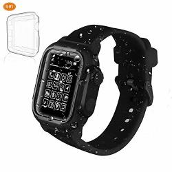 Apple Watch Case 42MM Series 3 Series 2 Waterproof Case Waterproof Shockproof Impact Resistant+premium Soft Silicone Apple Watch Band-black