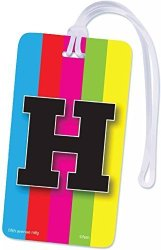 INITIAL Luggage Tag Letter H Personalized Id Tag Colorful Tv Test Pattern Design H