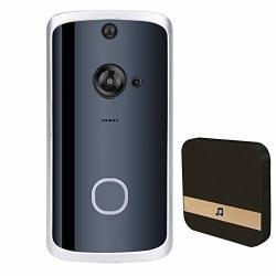 Lnicesky Smart Wifi Doorbell Camera Video Wireless Remote Door Bell Cctv Chime Phone UK Black