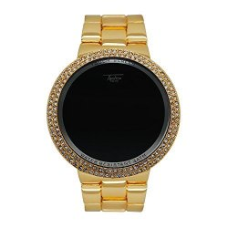 Techno Pave Iced Out Bling Created Lab-diamond Gold Digital Touch Screen Sports Designer Metal Band Watch