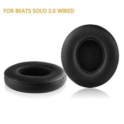 Beats Solo 2 Wired Replacement Earpads - Jarmor Protein Leather & Memory Foam Ear Cushion Pads For SOLO2 Wired On-ear Headphones By Dr.