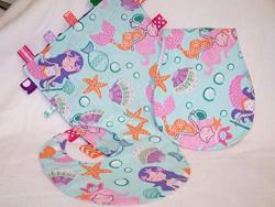 Bib Mermaids Burp Cloth & Lovie Baby Gift Set