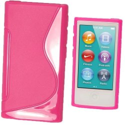 Igadgitz Dual Tone Hot Pink Durable Crystal Gel Skin Tpu Case Cover For Apple Ipod Nano 7TH Generation 7G 16GB + Screen Protector