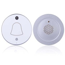 BLUESSENCE Wireless Smart Doorbell At 200-FEET Range Chime With Camera Photo Capture Function Automatically Takes Picture When Pressing Bell-push White