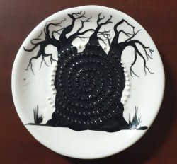 Boabab Tree Shadow African Grater Plate
