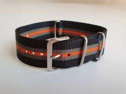 NATO 24MM Watch Strap Black grey orange