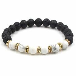 WATOP 9 Colors 8MM Black Lava Stone Beads Bracelets Diy Aromatherapy Essential Oil Diffuser Bracelets White Green Stone Strand Jewelry E