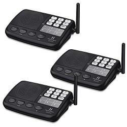 Hosmart 1 2 Mile Long Range 7-CHANNEL Security Wireless Intercom System For Home Or Office 3 Stations Black