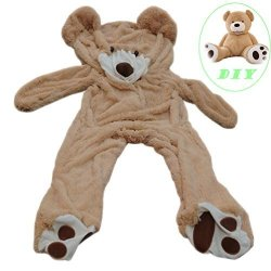 Life Size Huge Plush Teddy Bear Unstuffed Soft Giant Animal Toy 63 Inch 5.2 Feet Diy Brown Bear For Children Girls Wishes Only Cover