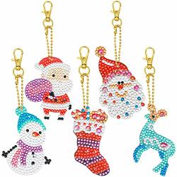 5 Pieces Christmas Diy Diamond Key Chains 5D Artificial Diamond Painting Round Drill Kits For Keychain Pendant Christmas Art Crafts Keychains