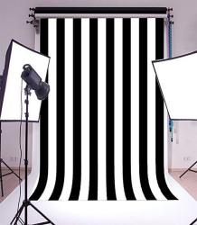 Laeacco 6X8FT Vinyl Photography Background Black And White Stripes Backdrop Party Artistic Children Adults Photo Backdrop 1.8 W