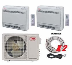 TWO Ymgi Zone - 21000 Btu Dual 2 Zone 9000+12000 Floor Mount Ductless MINI Split Air Conditioner Heat Pump With 25 Ft Lineset Installation Kits