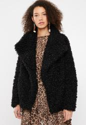 27c7460760e40 Missguided Shaggy Waterfall Faux Fur Jacket - Black