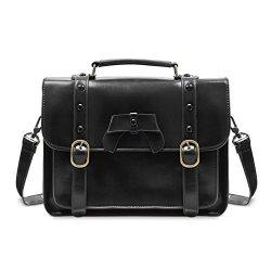 ECOSUSI Vintage Crossbody Messenger Bag Satchel Purse Handbag Briefcase For Women & Girl Black