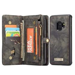 Samsung Galaxy S9 Plus Wallet Ice Frog Detachable Magnetic Handmade Cowhide Pu Leather Credit Card Slots Purse Pouch Flip Shell