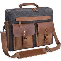 ab1fd4ffac54 NEWHEY Mens Messenger Bag 15.6 Inch Vintage Genuine Leather Briefcase  Waterproof Waxed Canvas Laptop Computer Bag Large Leather | R3440.00 |  Other ...