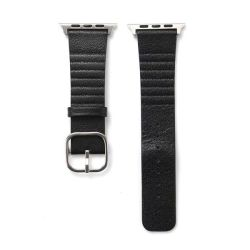 Leather Buckle Band For Apple Watch - Black 42MM