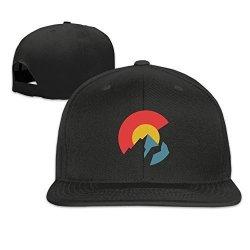 Colorado Flag Solid Snapback Baseball Hat Cap One Size Black