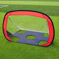 Kuyou Folding Soccer Goal Portable Pop Up Soccer Goal & Football Training Net Kicking Door For Kids Playground Training -3.3FT X 2.4 Ft