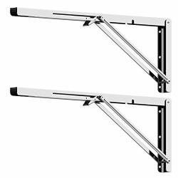 FOLDING Shelf Brackets 24 Inch 2PCS Heavy Duty Stainless Steel Collapsible Shelf Bracket Wall Mounted Diy Triangle Brackets For Table Work Bench Space Saving