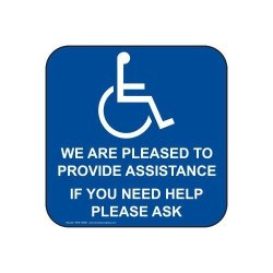 ComplianceSigns Vinyl Accessibility Label 6 X 6 In. With English Blue