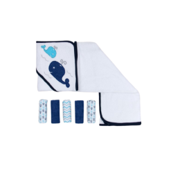 Mothers Choice - Baby Hooded Towel & 5 Face Cloth Set - Blue Whale