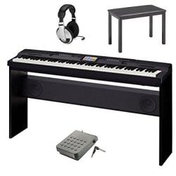 Casio CGP-700 Compact Grand Piano Bundle With Casio CB7BK Furniture Style Bench Open-ear Headphones & Casio SP3R Pedal