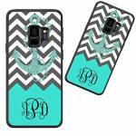 Customized Phone Case For Samsung Galaxy S9 Plus Gray Chevron Anchor Pattern Personalized For Samsung Galaxy S9 Plus