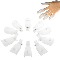 Orino Professional Durable Reusable Plastic Nail Art Polish Soak Off Remover Wrap Cleaner Clip Cap Tool Pack Of 30 White