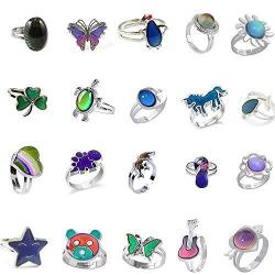 LH1028 12PCS Mixed Mood Rings Classic Temperature Change Color Mood Ring Lovers Adjustable Size 12PCS-1