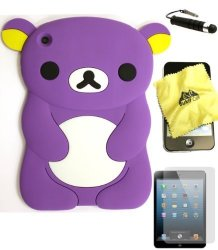 BUKIT CELL Purple Bear 3D Cartoon Soft Silicone Skin Case Cover For Apple Ipad MINI 16GB 32GB 64GB Wifi And 4G LTE Versions