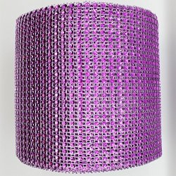 """Ben Collection 4.75"""" X 10 Yards 24 Rows Diamond Rhinestone Mesh Warp For Wedding Party And Events Decoration Fuchsia"""