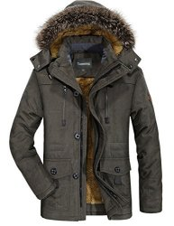 Tanming Men's Winter Warm Faux Fur Lined Coat With Detachable Hood Large Army Green